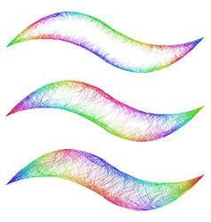 Sketch wave line graphic design element set vector