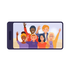 Smartphone with teen friends displaying on screen vector