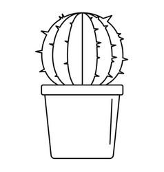 Sphera cactus pot icon outline style vector