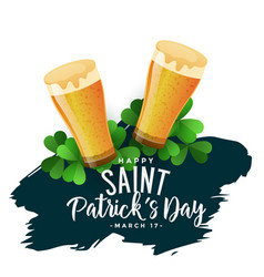 st patricks day background with beer glasses vector image