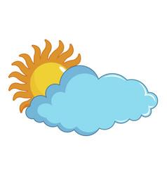 Sun and cloud icon cartoon style vector