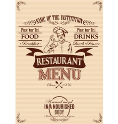 template for cover menu with chef vector image