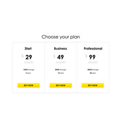 Three pricing plans vector