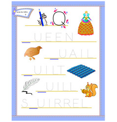 Tracing letter q for study english alphabet vector