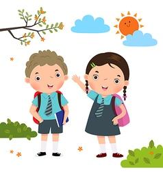 Two kids in school uniform going to school vector