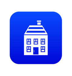 two-storey house with chimney icon digital blue vector image