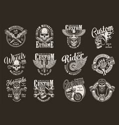 vintage monochrome motorcycle prints vector image