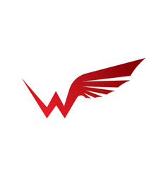 W letter wing logo icon vector