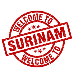 Welcome to surinam red stamp vector