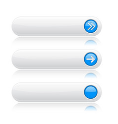 White long buttons with blue arrows menu vector
