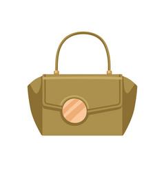 Women handheld flap bag with big gold buckle vector