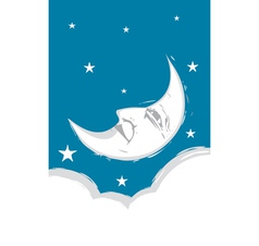Crescent Moon face vector image