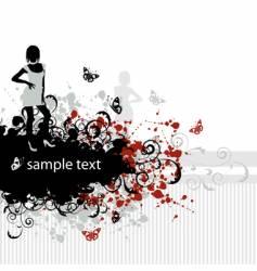 grunge background beautiful girl vector image