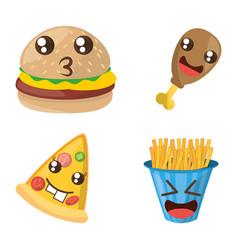 kawaii fast food funny set vector image