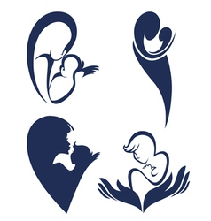 mother love logo and symbols vector image vector image