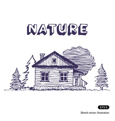 Rural lodge vector image vector image