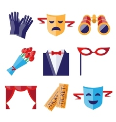 Theater Performance Decorative Icons Set vector image