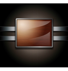 Wooden banner on a metal perforated background vector image vector image