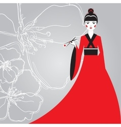 Beautiful Japanese woman in a red kimono holding vector image vector image