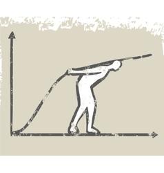 Business man grow up graph line vector image