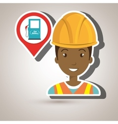 gas station attendant isolated icon design vector image