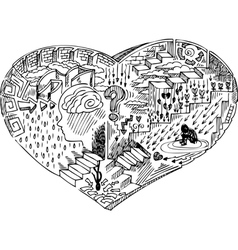 Heart shape with doodles vector image vector image