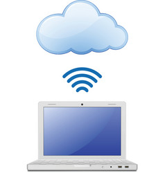 Laptop and Cloud computing vector image vector image
