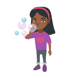 little african-american girl blowing soap bubbles vector image vector image