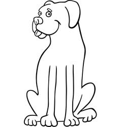 boxer dog cartoon for coloring book vector image vector image