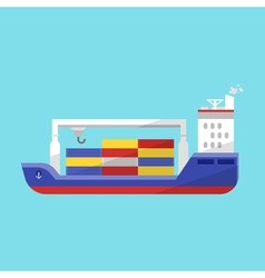 flat style of cargo ship vector image vector image