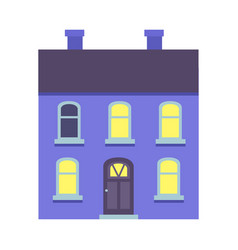 Isolated xmas blue building with two chimneys vector