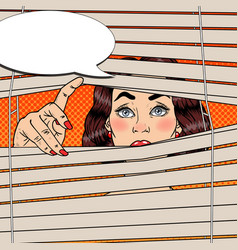 pop art shocked woman looking through the blinds vector image vector image