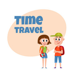 travel time poster banner postcard design with vector image vector image