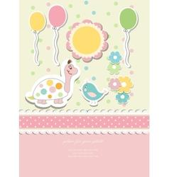 Vintage doodle baby card vector image vector image