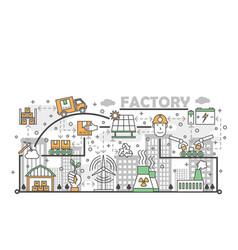 ecological factory concept flat line art vector image