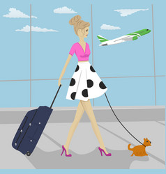 fashion woman with dog and suitcase at airport vector image
