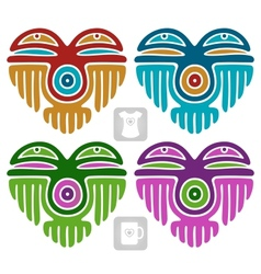 Indian pattern set in the shape of heart vector image