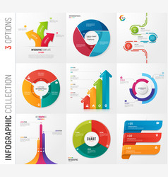 infographic collection of 3 options vector image vector image