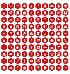 100 dress icons hexagon red vector image