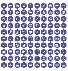 100 lorry icons hexagon purple vector
