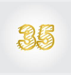 35 years anniversary gold line design logo vector