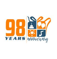 98 years gift box ribbon anniversary vector image