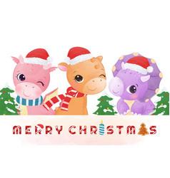 Adorable dinosaur wishing you a merry christmas vector