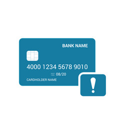 Alert attention bank card icon vector