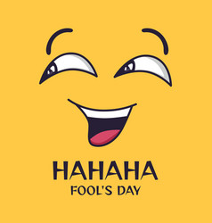 april fools day cartoon crazy laughing eyes and vector image
