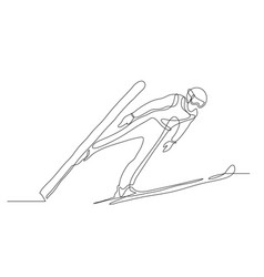 athlete performs a jump from a springboard to ski vector image