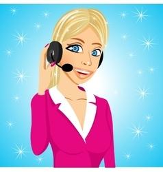 Attractive operator speaking into microphone vector