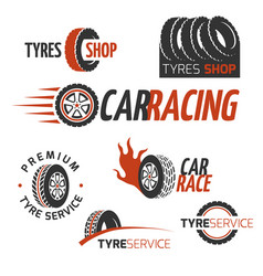 Automobile rubber tire shop car wheel racing vector