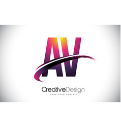 Av a v purple letter logo with swoosh design vector