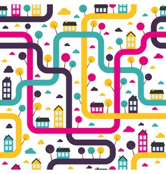 Background seamless pattern with abstract town vector image